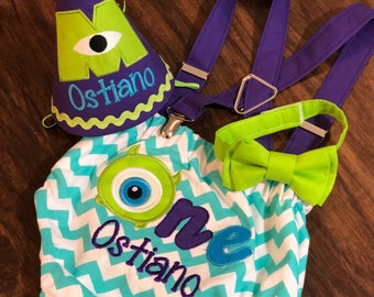 Monsters inc cake smash birthday outfit. Monsters inc birthday party. Monsters University