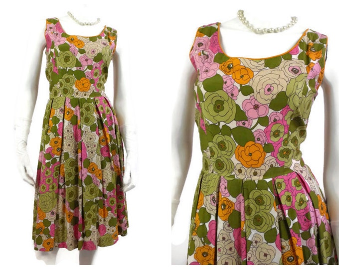 1960's Orange, Pink and Green Floral Cotton Summer Dress - Polished Floral Cotton - Pin Up Girl Dress - Summer Party Dress - Size 8 to 10