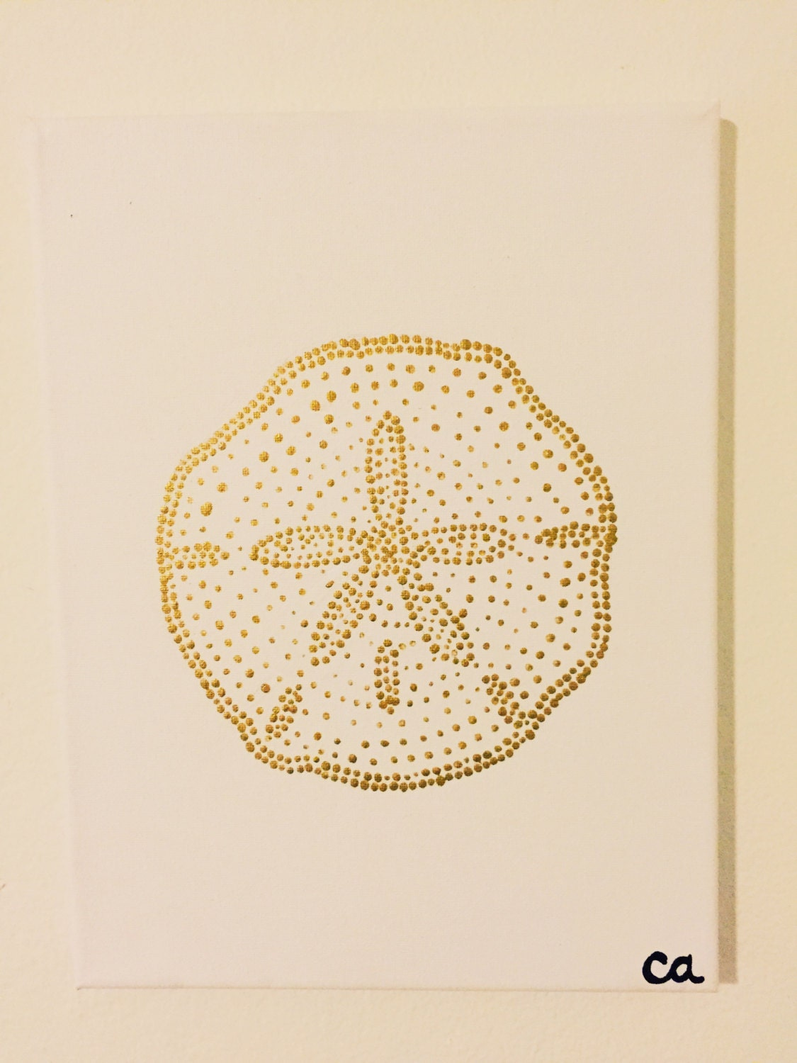 Gold Sand Dollar Painting Pointillism Simple Wall Art