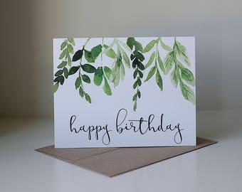 Pretty birthday card etsy happy birthday card ivy birthday card watercolor card pretty birthday card simple birthday card neutral birthday card leaves and stems m4hsunfo