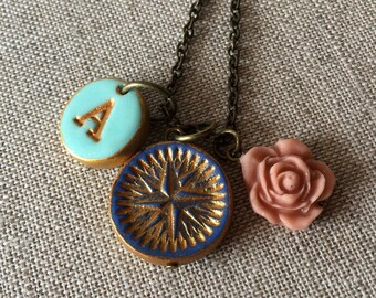 Personalized Compass Necklace, letter compass graduation gift, Follow your dreams, the sky is the limit, not all who wander are lost