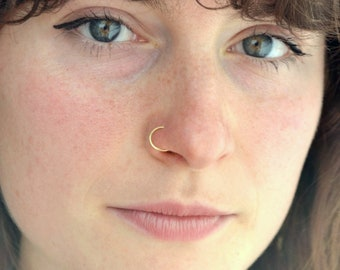 Earring, hoop, simple gold piercing craft, handmade-simple gold nose ring, nose hoop, handmade