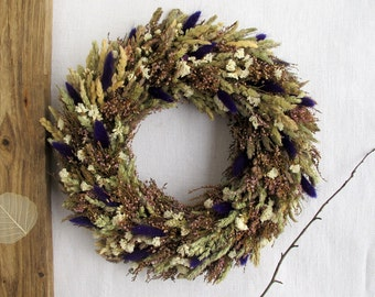 Dried flowers wreath Grass and Heather all season front door or wall decor Green Purple Pink