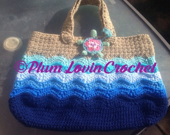Crochet turtle beach tote bag