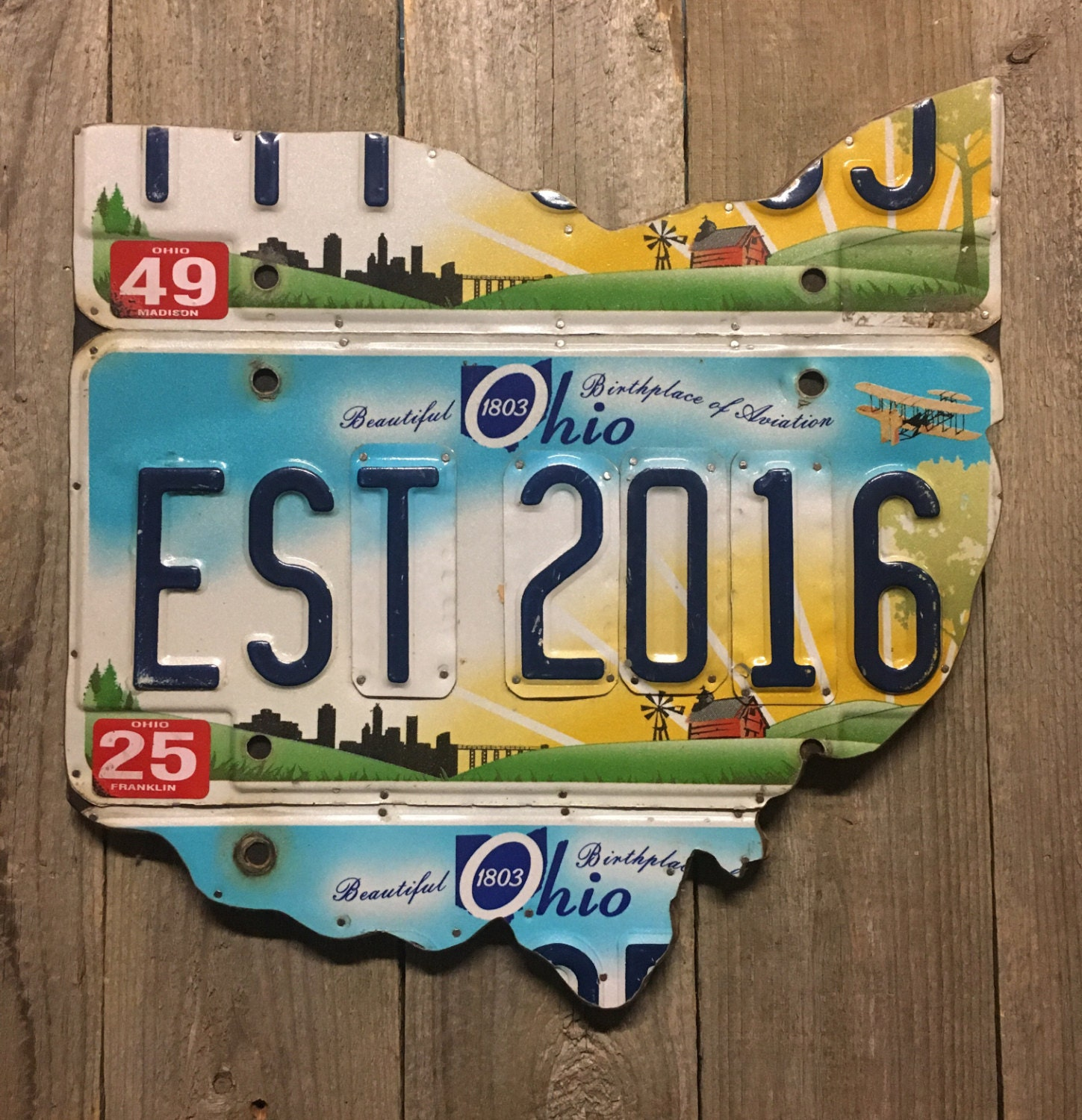 2 Year Anniversary Gift Ohio License Plate Map - Established 2016 ...