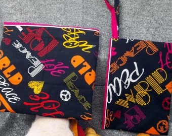 Reusable Sandwich N Snack Bag Set,  Pink Peace Print