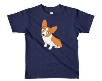Cute Corgi is a happy dog Short sleeve kids t-shirt