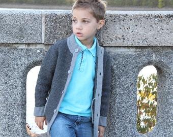 SALE: Toddler Boy 90% Wool Dark Gray Cardigan with Pockets, Winter Top, Sweater