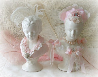 Victorian Lady and Gent Embellished Busts, Pink Shabby Head Busts, Vintage Lady Bust, French Head Bust