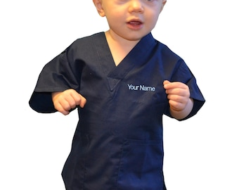 Embroidered Personalized Navy Blue Toddler Kids Scrubs for little Doctors  and Nurses