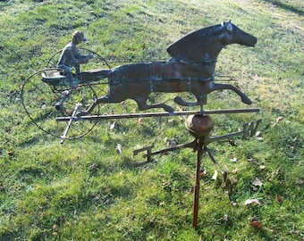 Antique 19th c Weathervane Horse Jockey Sulky Directional Copper Ball Rod Vintage