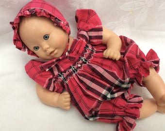 Doll romper clothes pink Tartan doll 30 cm