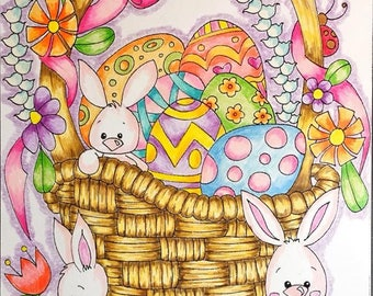 Sassy Easter Card Collection. instant download Easter cards to colour. Digital colouring pages.