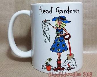 Headgardener mug with coaster, lady headgardener, female headgardener, gardener mug