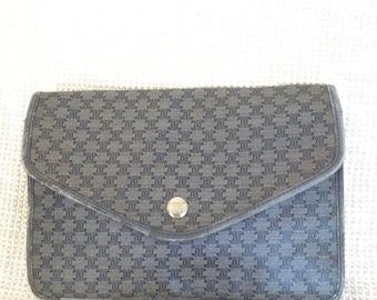 15% SUMMER SALE Vintage CELINE Paris signature navy blue clutch