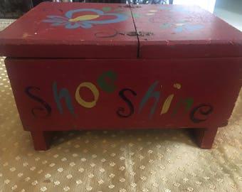 Vintage Painted Shoeshine Storage Box