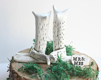 Fox Wedding Topper - READY TO SHIP - Rustic Cake Topper - Clay Foxes - Fox Cake Topper - Wedding Decoration -Woodland  fox topper