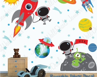 Space Wall Decal with Custom Name, Astronaut, Planets, Rocket (Space Scene Light Walls) SP3S