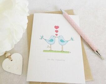 Little Blue Love Birds - Valentine's Day Card