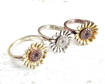 Sunflower Ring, Flower Ring, Mixed Metal, Boho Ring, Sterling Silver, Copper Ring with Brass