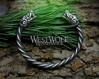 Silver Viking Dragon Beast Bracelet/Torc/Torque --- Norse Mythology/Figurehead/Wolf/Monster/Medieval/Jewelry/Skyrim