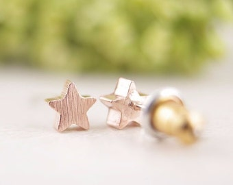 Stars / Star / Studs / Earrings / Rose Gold / Hipster / Trendy / Everyday / Simple / Dainty / Minimalist / Petite