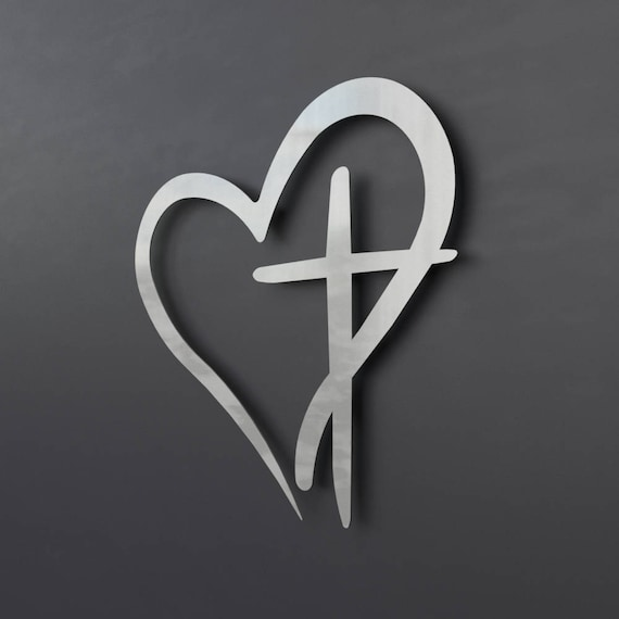 Wonderful Modern Metal Wall Cross with Heart Christian Wall Art Large ZP62