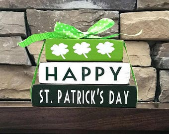"St Patrick's day wood blocks-Happy St. Patrick's day ""MINI"" stacker"