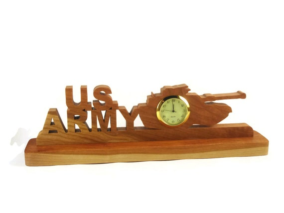 US Army Desk Or Shelf Clock Handmade From Cherry Wood By KevsKrafts Woodworking, Army Tank