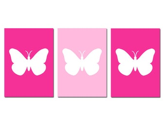 Butterfly Silhouette Modern Baby Girl Nursery Art  - Set of Three 5x7 Prints - CHOOSE YOUR COLORS - Shown in Hot Pink, Light Pink, and More