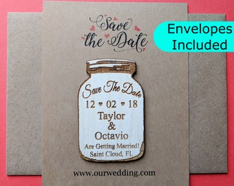 Mason jar save the date magnet, save the date magnet, mason jar magnet, mason jar wedding invitation, wooden mason jar save the date magnet