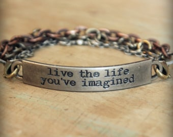"2pc Indie Inspirational Quote Interchangeable Bracelet ... ""Live the life you've imagined"""