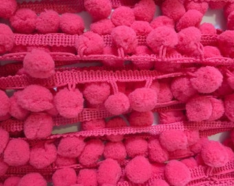 "Hot Pink Fuschia Pom Pom Trim - 1/2"" Ball Trim - Pink Pom Pom Fringe - Sewing Embellishment - Felt Ball Garland - Bobble Trim"
