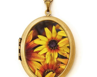 Yellow Daisy- Colorful Floral Grande Photo Locket Necklace