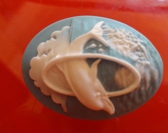 Italian Cameo Brooch Dolphin Leaping Relief, White on Light Blue
