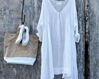 Merci White Linen Dress