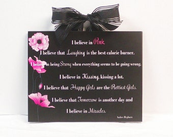 Audrey Hepburn Quote I Believe In Pink Wooden Wall Plaque
