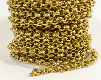 5ft 5.7mm Rolo Chain - Raw Brass - 5.7mm Links - CH81