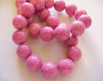 Fossil Beads Pink Round 10mm
