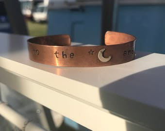 Personalized Copper Cuff Bracelet Love You To The Moon and Back