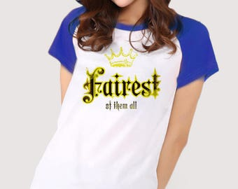 Fairest of them all / Baseball T-shirt (royal blue & navy sleeves)