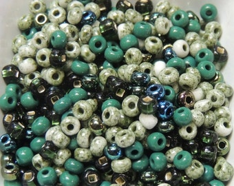 Olympic Forest Dark Green size 6 Czech seed bead Mix 50 grams greens mossy