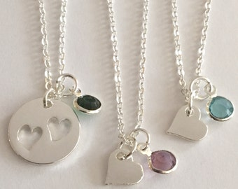 Mother and Daughter, 2 Daughters or 3 daughters necklaces Cutout Heart necklaces with birthstones Free Gift Bag and birthstones are included