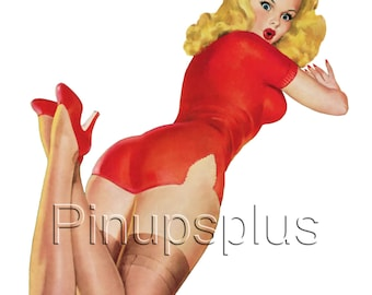 Pinup Girl waterslide Decal Blond in Red for Guitars & much MORE. Works on most smooth surfaces for a painted on look S46