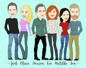 Cartoon Family Portrait, Cartoon Portrait, Custom Family Portrait, Cartoon Art, Illustrated Portrait, Family Illustration, Printable