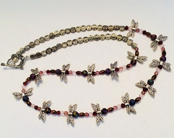 Amethyst and Butterfly Necklace