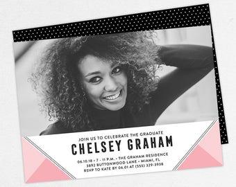 Graduation Invitation, Photo Graduation Invitation, Graduation Announcement, Printable, PDF, DIY, Printed, Modern, Geometric, Pink, Chelsey