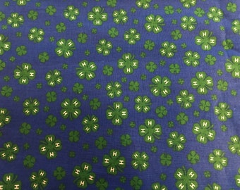 2 Yards—Vintage—4H Club—Clover Emblem—Fabric—2 Continuous Yards—Green Clovers/Shamrocks On Blue
