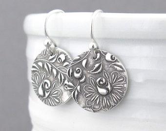 Dangle Silver Earrings Silver Rose Earrings Flower Jewelry Bohemian Jewelry Simple Jewelry Handmade Jewelry Under 50 - Unique Petites