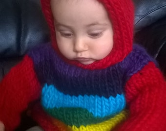 baby jumper top rainbow chakra hood striped stripy hand knitted 100% super chunky pure new merino wool